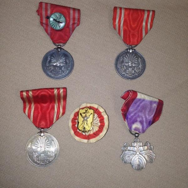 金色特別社員章メダル3・勲8等白色桐葉章・帝国在郷軍人会 5点セット箱なし