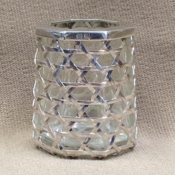銀製ガラス ぐい呑み